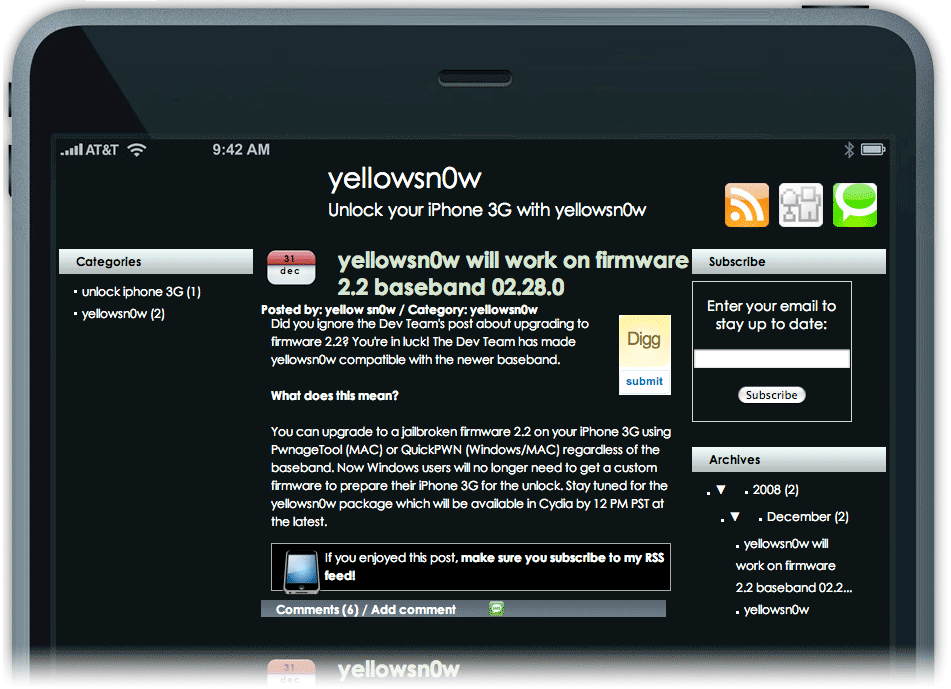Página falsa do yellowsn0w