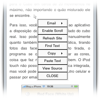 Menu contextual no iPhone