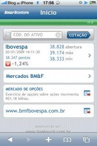 Site da BOVESPA adaptado ao iPhone