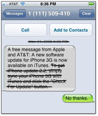 Mensagem SMS mandada pela AT&T