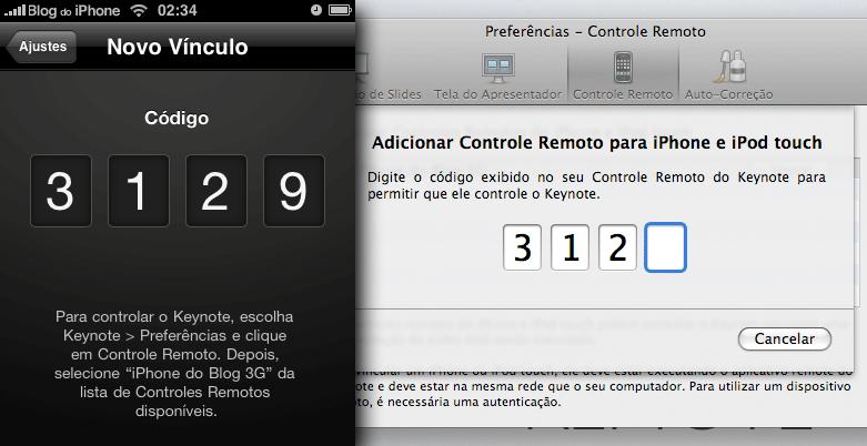Código para emparelhar o aparelho e o mac