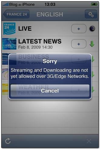 Nada de funcionar em rede 3G/EDGE