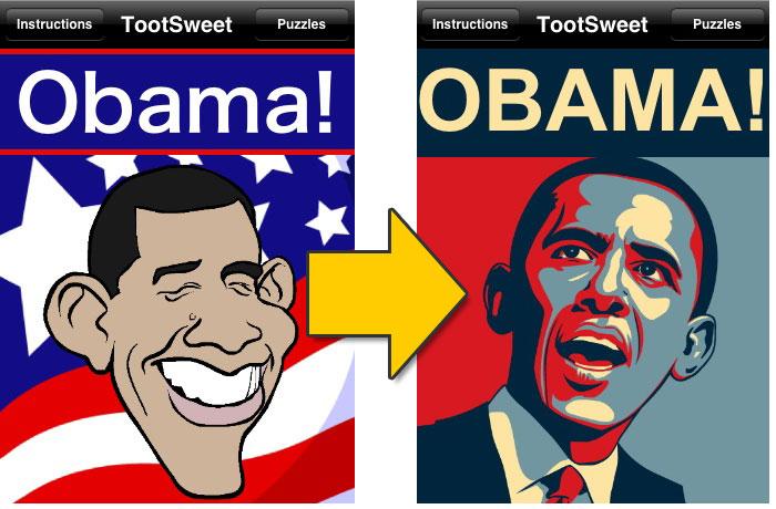 Mudança na caricatura de Obama