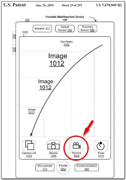Patente mostrando o recurso de gravação