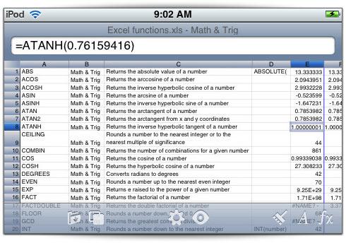 Editor de planilhas Excel no iPhone
