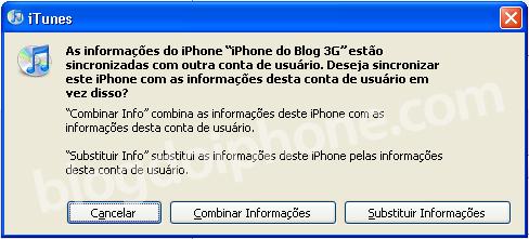 Aviso to iTunes ao se conectar em outro PC