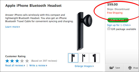 Apple iPhone Bluetooth Headset