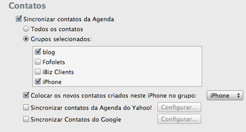 Contatos no iTunes