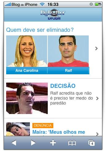 Portal do Big Brother no iPhone