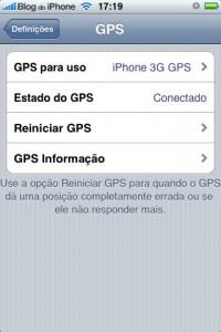 Uso do GPS do iPhone