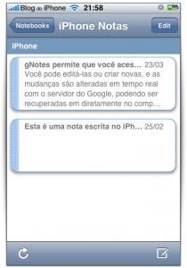 Notas do Google no seu iPhone