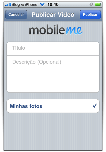 Publicação de vídeos no MobileMe