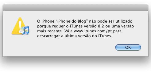 É obrigatório o iTunes 8.2 para usar o novo beta