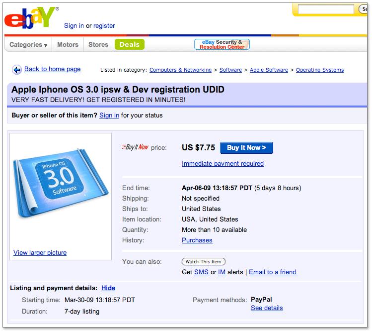 Venda de licenças no eBay