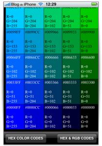 Cores em RGB e HEX
