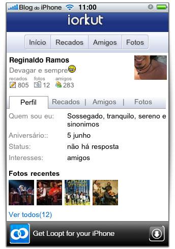 Aplicativo brasileiro iOrkut