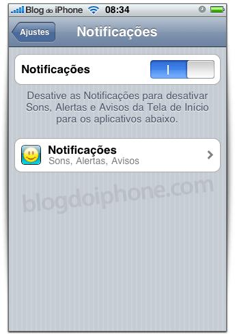 Notificações para cada aplicativo