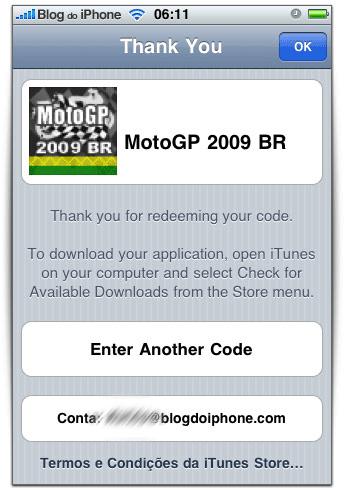 Código no iPhone
