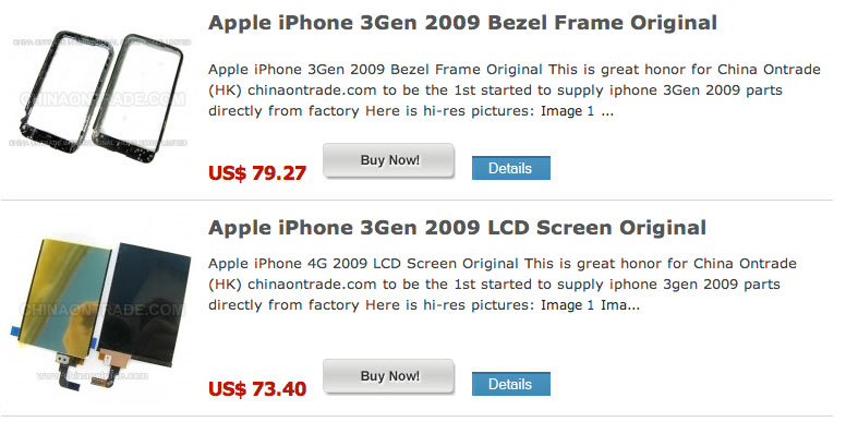 Varejista chinês vendendo peças do futuro iPhone
