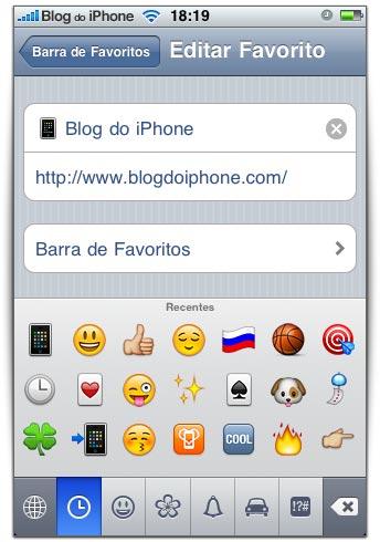 Utilize os Emoji nos nomes dos favoritos