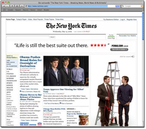 Banner da Apple na página do The New York Times