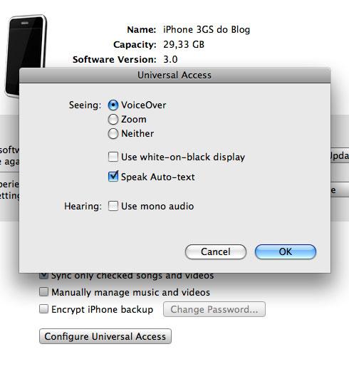 Configurando o acesso universal do iPhone no iTunes