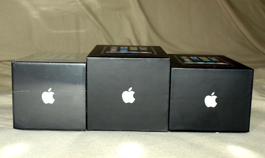 Caixas dos três modelos