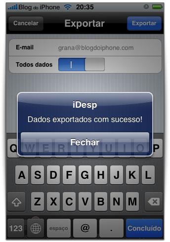 Exportação para o email