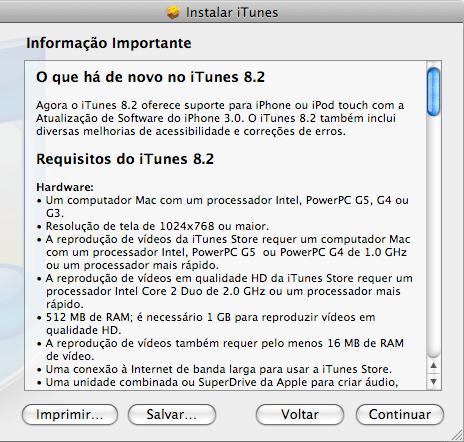 Instalação do iTunes