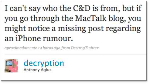 Editor insinua que post foi tirado do ar
