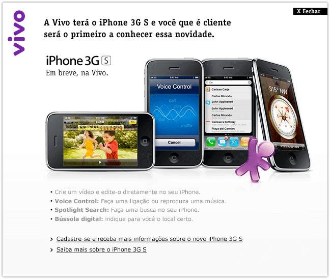 iPhone 3G S no site da Vivo