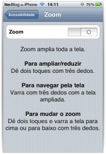 Controle de Zoom