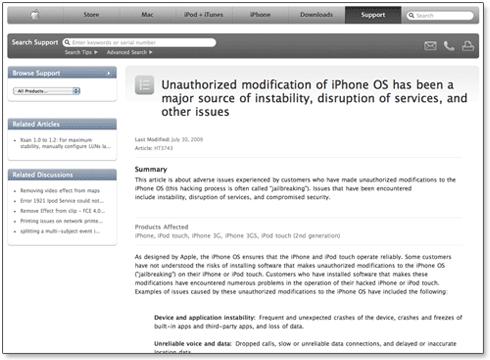 Página de suporte da Apple
