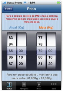 Peso atual e meta de peso