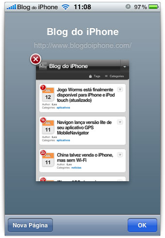 Fechando páginas no Safari