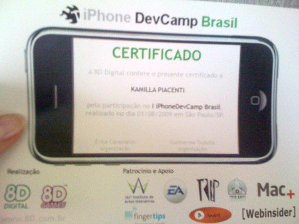 Certificado de participação no evento