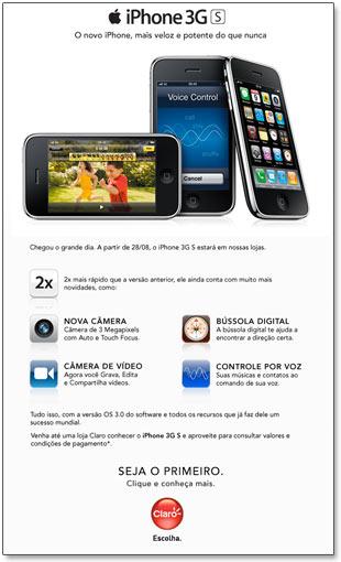 Email da Claro sobre o iPhone 3GS