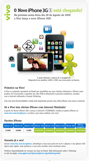 Email da Vivo sobre o iPhone 3GS