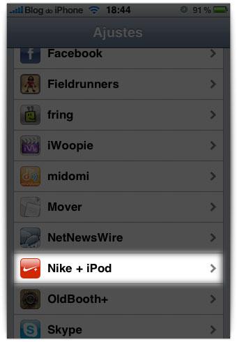 Configurações do Nike+