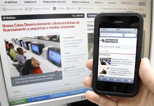 Site móvel do Governo de São Paulo