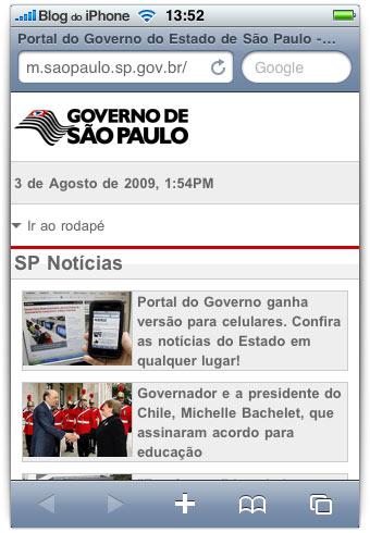 Página no iPhone