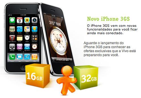 Site da Vivo sobre o iPhone 3GS