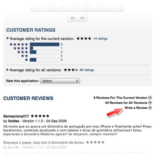 Escrever um review pelo iTunes