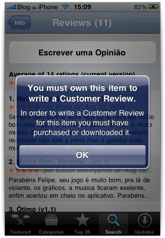 Somente quem possui o app pode avaliá-lo