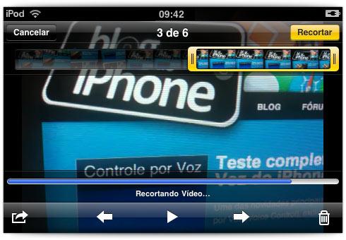 Editando vídeo direto no iPod touch