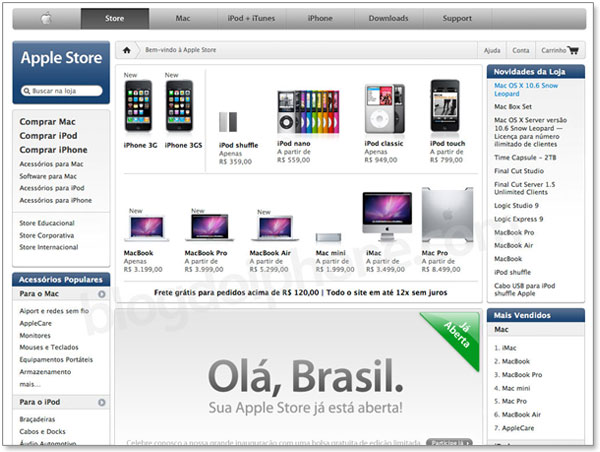 Página de abertura da Apple Store Online brasileira