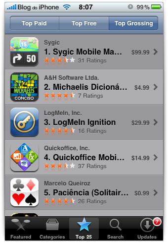 Maiores faturamentos da App Store