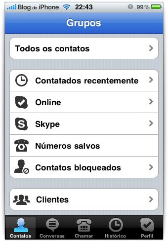 Grupos na tela inicial do Skype