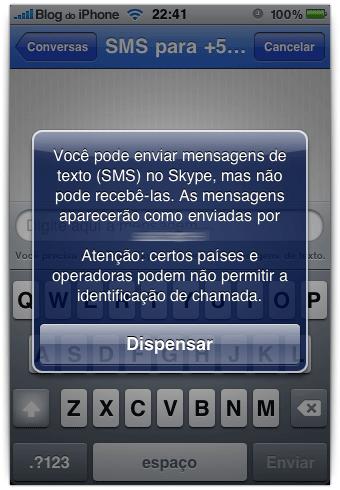 Envio de SMS no Skype