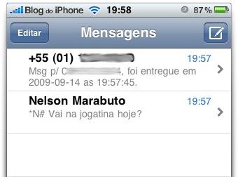 Aviso de recebimento de SMS